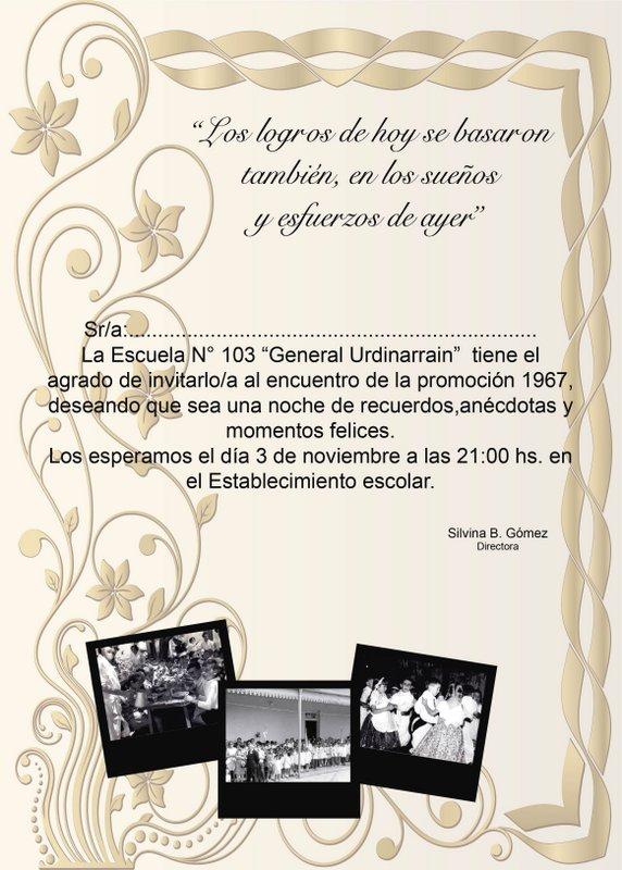 Escuela 103 Gral Urd Promoción 1967